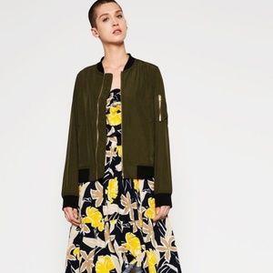 Zara Olive and Black Bomber Jacket Size S